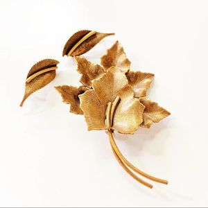 Fall Leaf Brooch and Clip on Earrings Set
